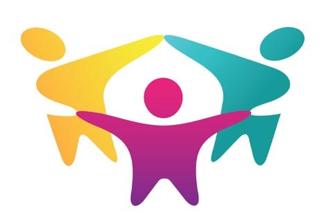 Arjen toimintakyky-hankkeen logo, jossa on kolme eriväristä hahmoa piirissä kädet yhdessä.