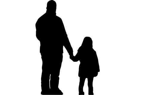 Mustavalkoinen piirretty kuva, jossa isä ja lapsi käsi kädessä.