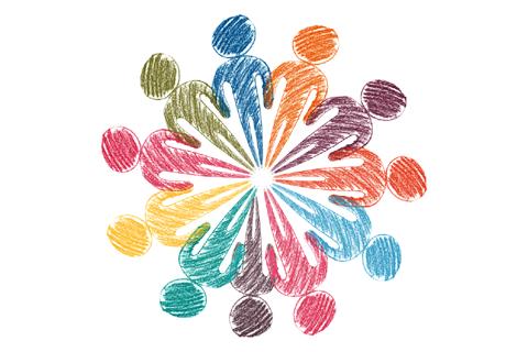 Värikäs piirros, jossa eri värisiä ihmishahmoja jalat vastakkain muodostaen ympyrän.