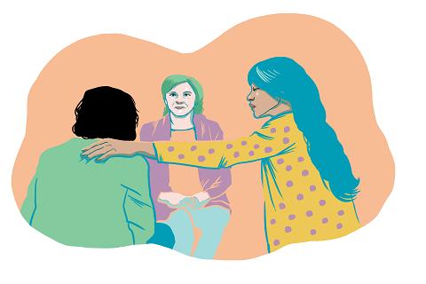 Piirroskuva, jossa nainen pitää kättä selin olevan naisen olalla ja toinen nainen istuu heitä vastapäätä.